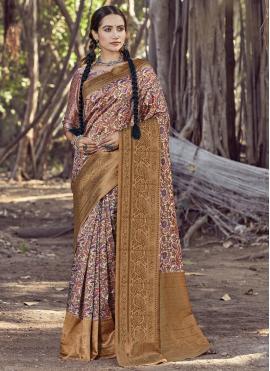 Digital Print Silk Printed Saree in Multi Colour