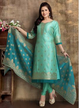Dignified Brocade Fancy Sea Green Readymade Churidar Suit