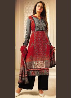 Dignified Multi Colour Crepe Silk Designer Palazzo Salwar Kameez