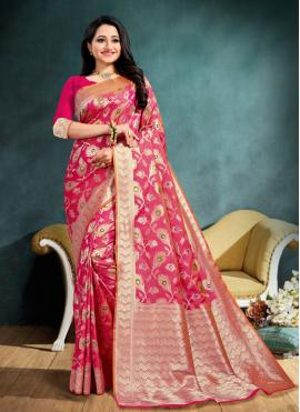 Distinctive Hot Pink Weaving Designer Traditional Saree
