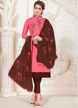 Distinctive Pink Silk Churidar Salwar Suit
