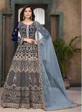 Distinctive Resham Blue Faux Georgette Floor Length Anarkali Suit