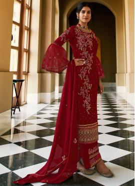 Distinctively Faux Georgette Maroon Designer Pakistani Suit