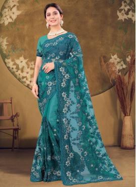 Distinctively Net Embroidered Designer Saree