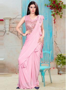 Distinctively Pink Handwork Classic Saree
