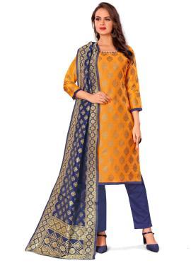 Distinguishable Jacquard Work Mustard Banarasi Silk Pant Style Suit