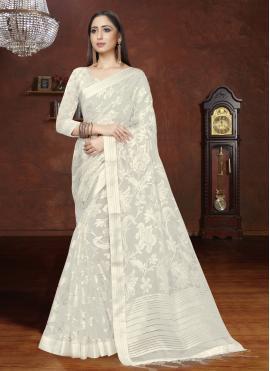 Distinguishable Organza Off White Fancy Designer Saree