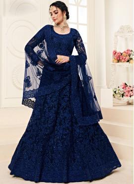 Divine Blue Net A Line Lehenga Choli