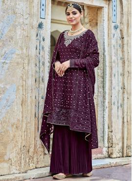 Divine Georgette Embroidered Purple Trendy Salwar Kameez