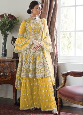 Divine Net Yellow Designer Palazzo Suit