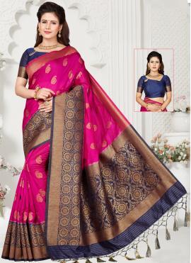 Divine Pink Weaving Silk Traditional Saree