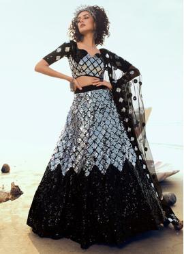 Divine Sequins Net A Line Lehenga Choli