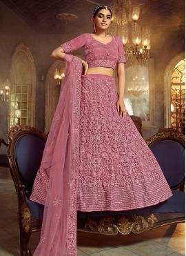 Dori Work Net Lehenga Choli in Pink