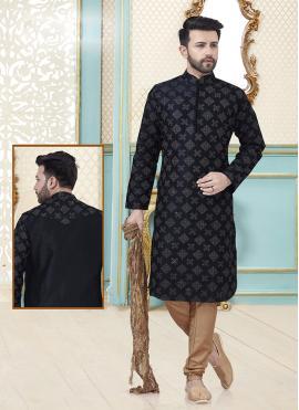 Dupion Silk Embroidered Black Kurta Pyjama