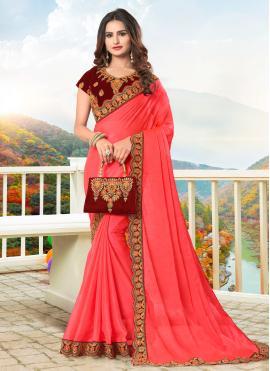Elegant Embroidered Faux Chiffon Trendy Saree