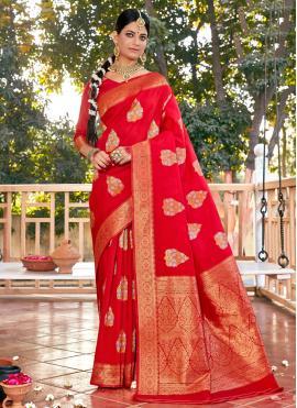 Elegant Weaving Red Traditional Designer Saree