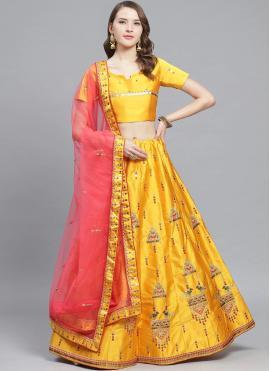 Elite Mustard Embroidered Satin Bollywood Lehenga Choli
