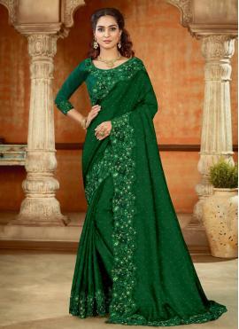Elite Satin Green Resham Designer Saree