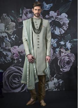 Embroidered Art Banarasi Silk Indo Western in Sea Green