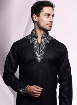 Embroidered Art Dupion Silk Kurta Pyjama in Black