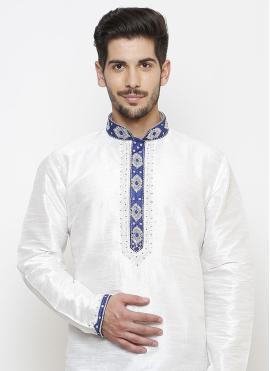 Embroidered Art Dupion Silk Kurta Pyjama in White