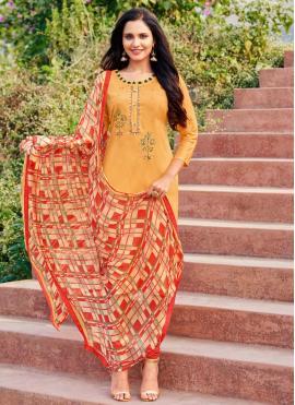 Embroidered Cotton Churidar Designer Suit in Orange