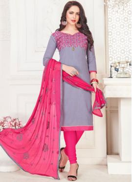 Embroidered Cotton   Churidar Suit in Grey
