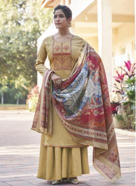 Embroidered Cotton Designer Pakistani Salwar Suit in Cream