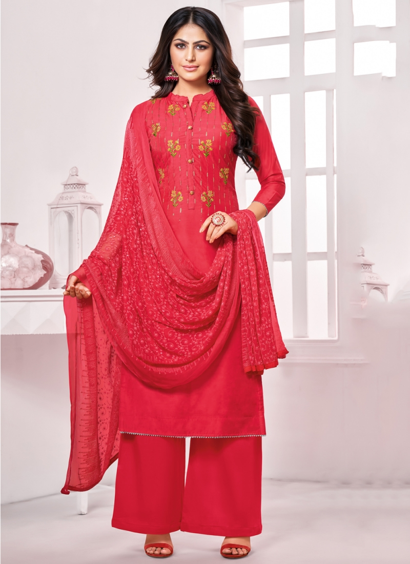 Embroidered Cotton Palazzo Suit in Red