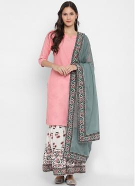 Embroidered Cotton Readymade Suit in Pink