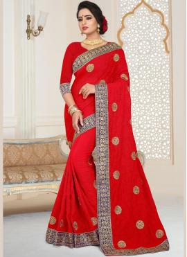 Embroidered Faux Georgette Classic Saree in Red