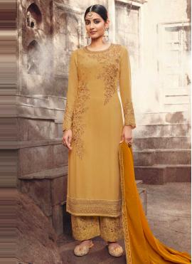 Embroidered Faux Georgette Designer Pakistani Suit in Mustard