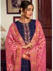 Embroidered Faux Georgette Designer Palazzo Suit in Navy Blue - 1