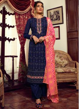 Embroidered Faux Georgette Designer Palazzo Suit in Navy Blue