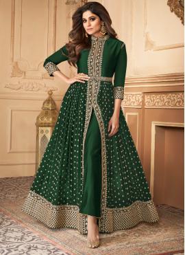 Embroidered Georgette Designer Salwar Suit in Green
