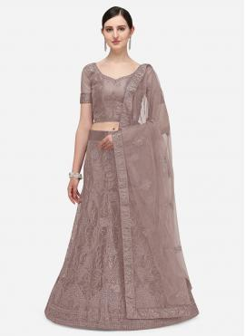 Embroidered Net A Line Lehenga Choli in Lavender