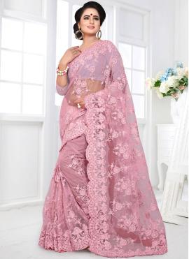 Embroidered Net Designer Saree in Pink