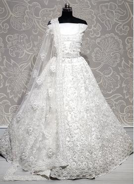 Embroidered Net Lehenga Choli in Off White