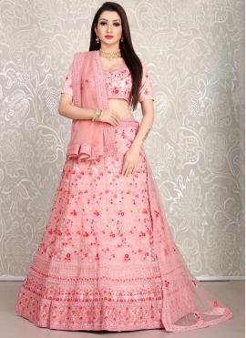 Embroidered Net Lehenga Choli in Pink