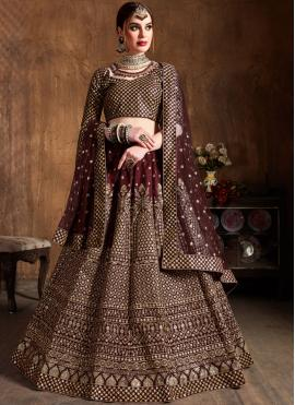 Embroidered Raw Silk Lehenga Choli in Wine