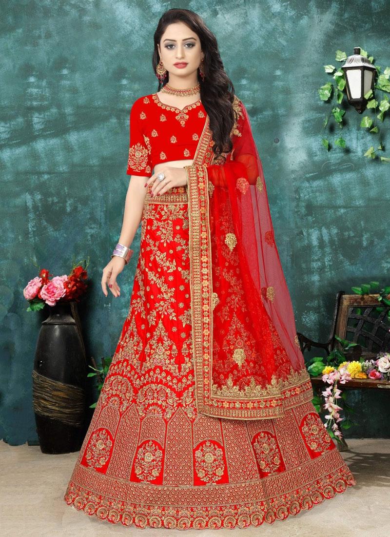 Embroidered Satin Lehenga Choli in Red