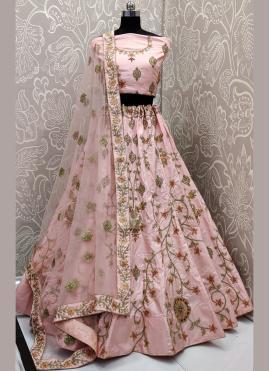 Embroidered Satin Silk Bollywood Lehenga Choli in Pink