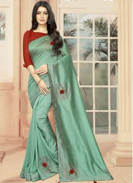 Embroidered Silk Casual Saree in Sea Green