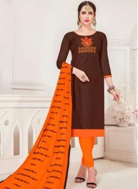 Embroidered Silk Churidar Salwar Suit in Brown