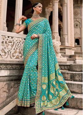 Embroidered Silk Designer Saree in Aqua Blue