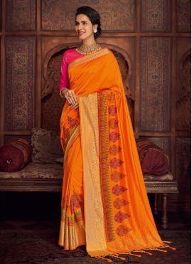 Embroidered Silk Designer Saree in Orange