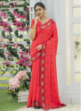 Embroidered Silk Designer Traditional Saree in Red