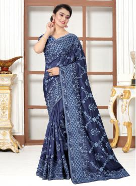 Embroidered Silk Traditional Saree in Navy Blue