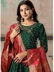 Embroidered Tafeta Silk Anarkali Suit in Green - 1