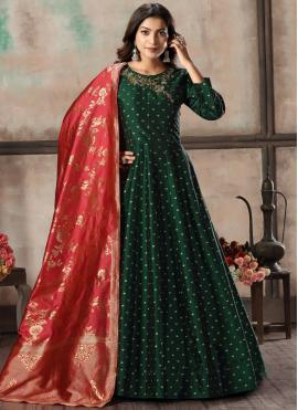 Embroidered Tafeta Silk Anarkali Suit in Green